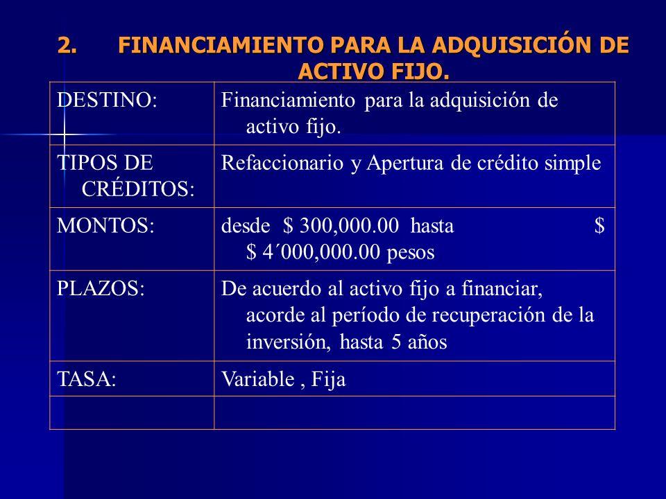 FINANCIAMIENTO PARA LA ADQUISICIÓN DE ACTIVO FIJO.