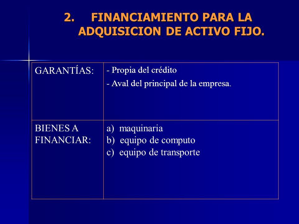 FINANCIAMIENTO PARA LA ADQUISICION DE ACTIVO FIJO.