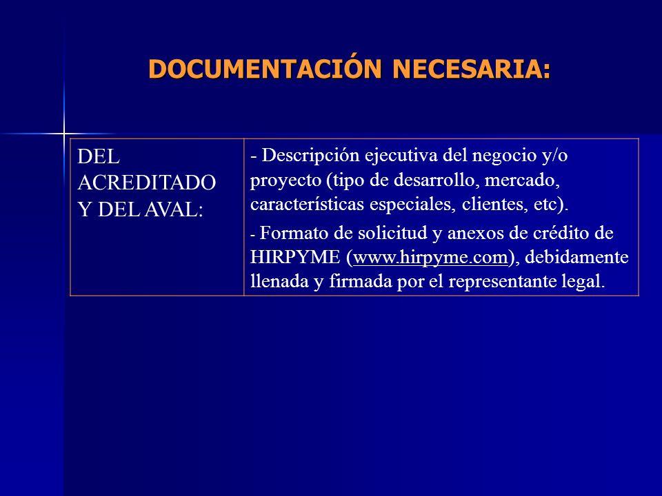 DOCUMENTACIÓN NECESARIA: