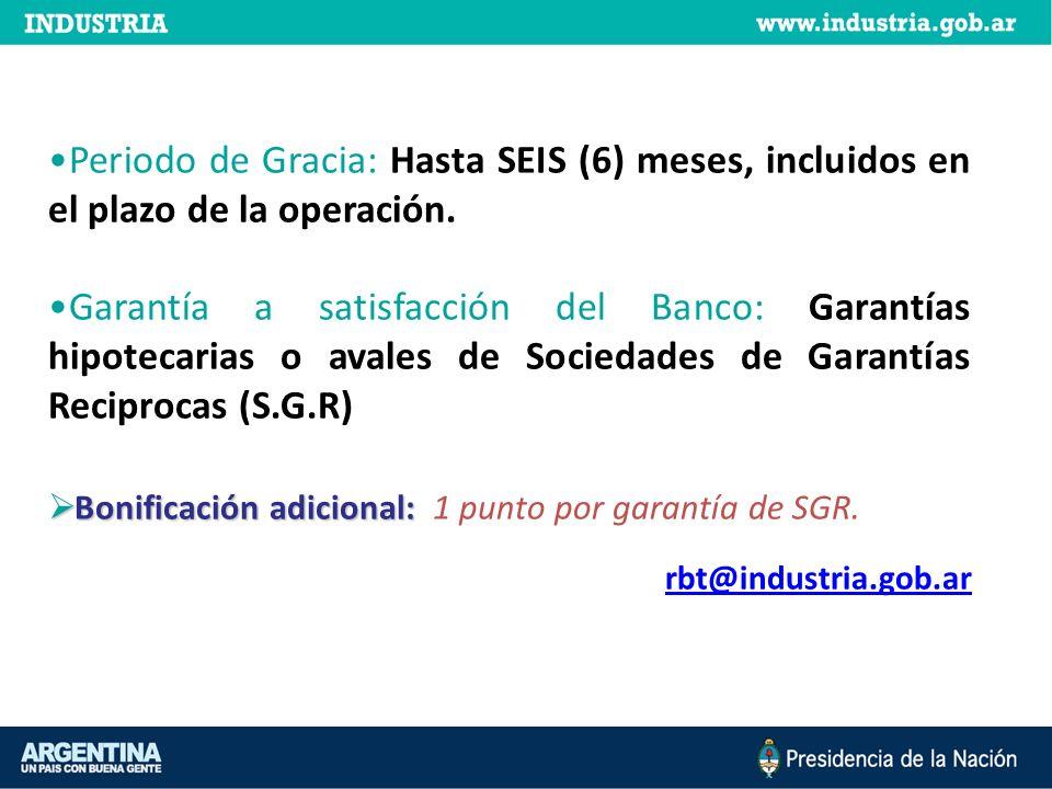 Periodo de Gracia: Hasta SEIS (6) meses, incluidos en el plazo de la operación.