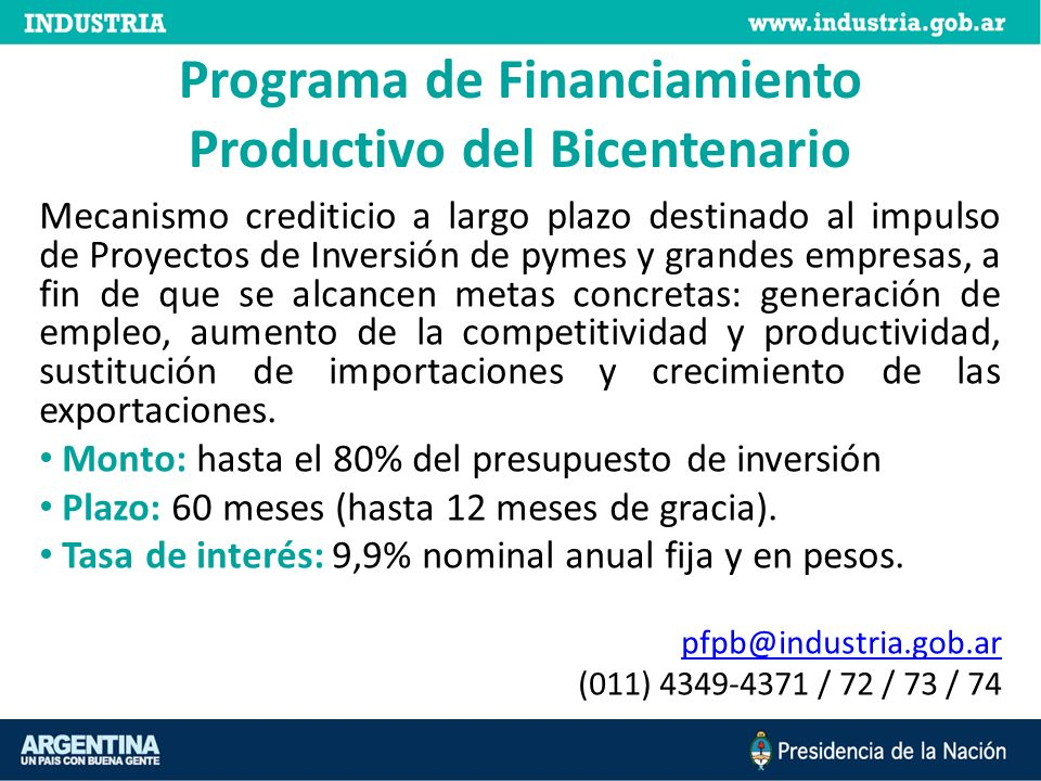 Programa de Financiamiento Productivo del Bicentenario