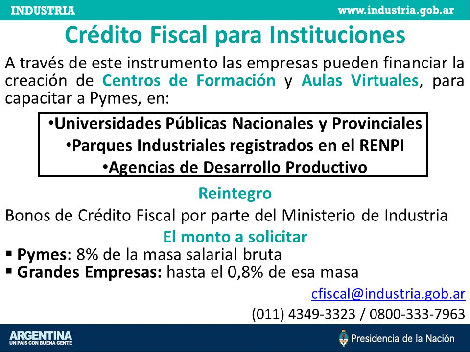 Crédito Fiscal para Instituciones