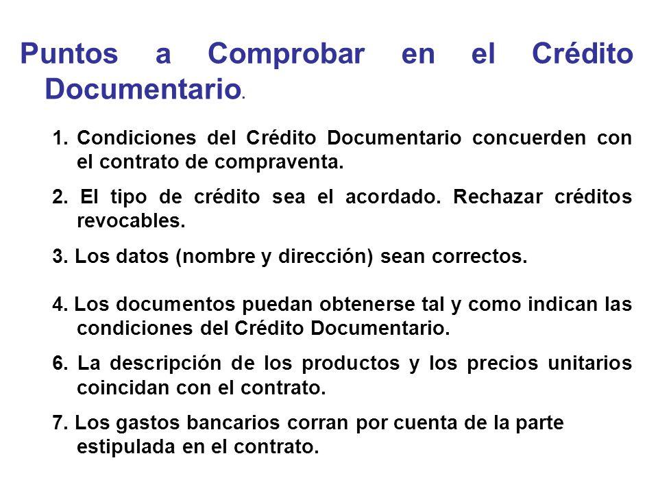 Puntos a Comprobar en el Crédito Documentario.