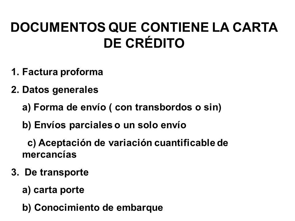 DOCUMENTOS QUE CONTIENE LA CARTA DE CRÉDITO