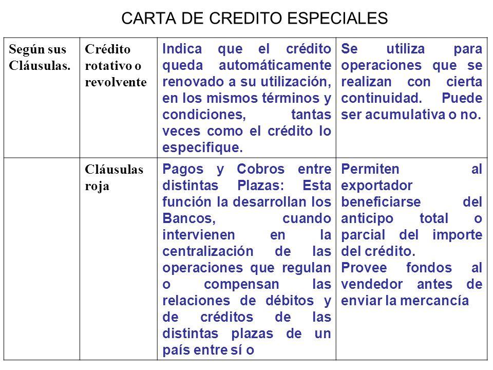 CARTA DE CREDITO ESPECIALES