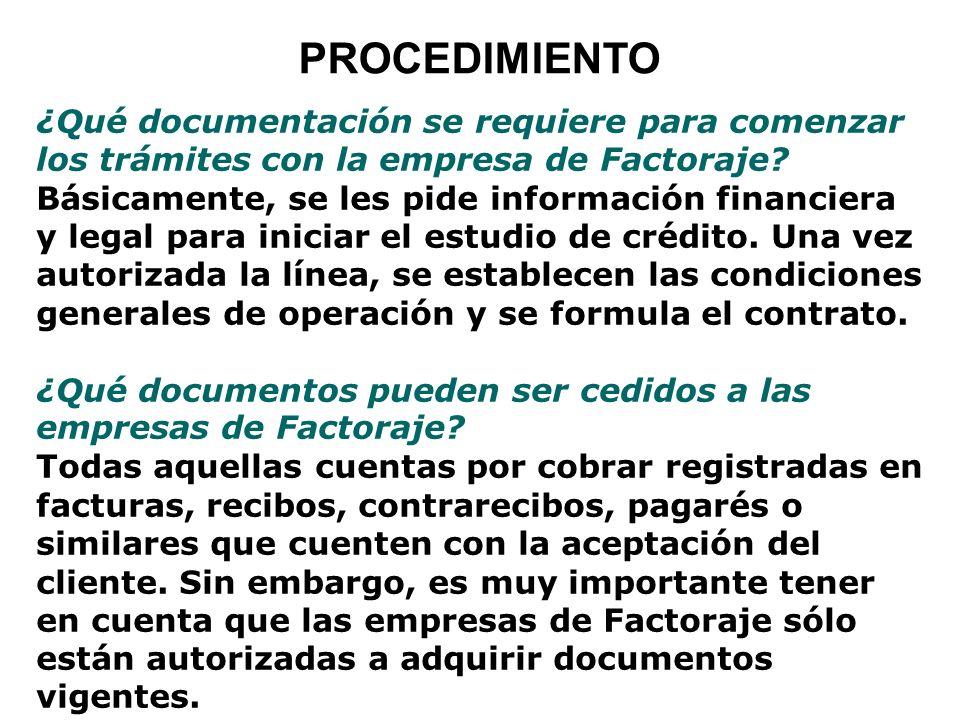 PROCEDIMIENTO ¿Qué documentación se requiere para comenzar los trámites con la empresa de Factoraje