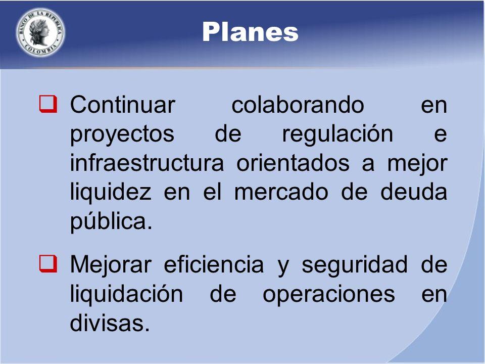 Planes Continuar colaborando en proyectos de regulación e infraestructura orientados a mejor liquidez en el mercado de deuda pública.