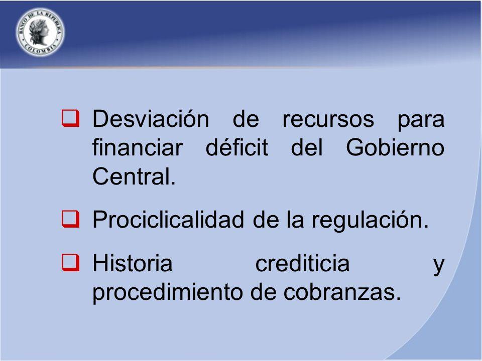 Desviación de recursos para financiar déficit del Gobierno Central.
