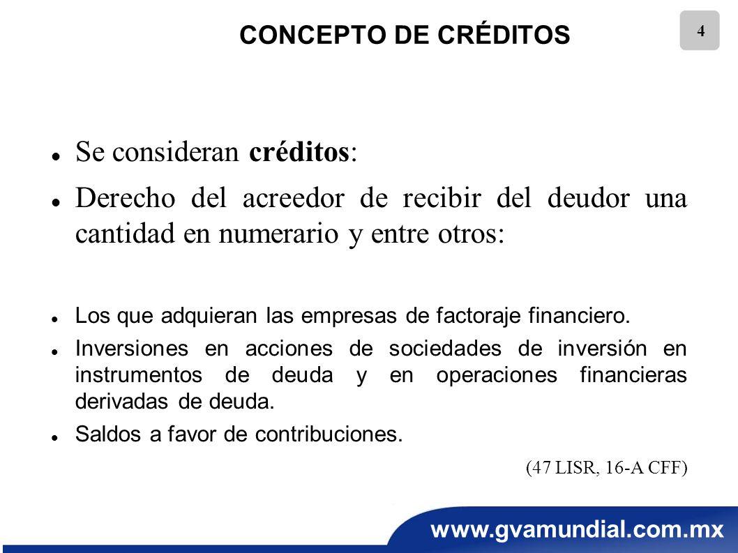 Se consideran créditos: