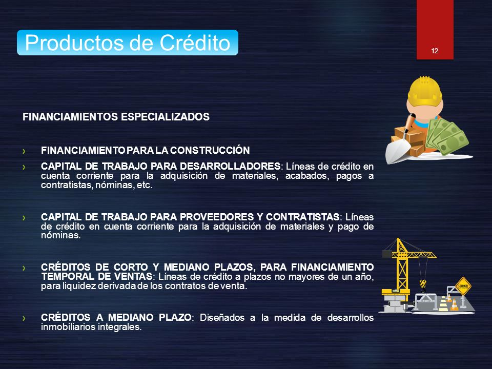 Productos de Crédito FINANCIAMIENTOS ESPECIALIZADOS