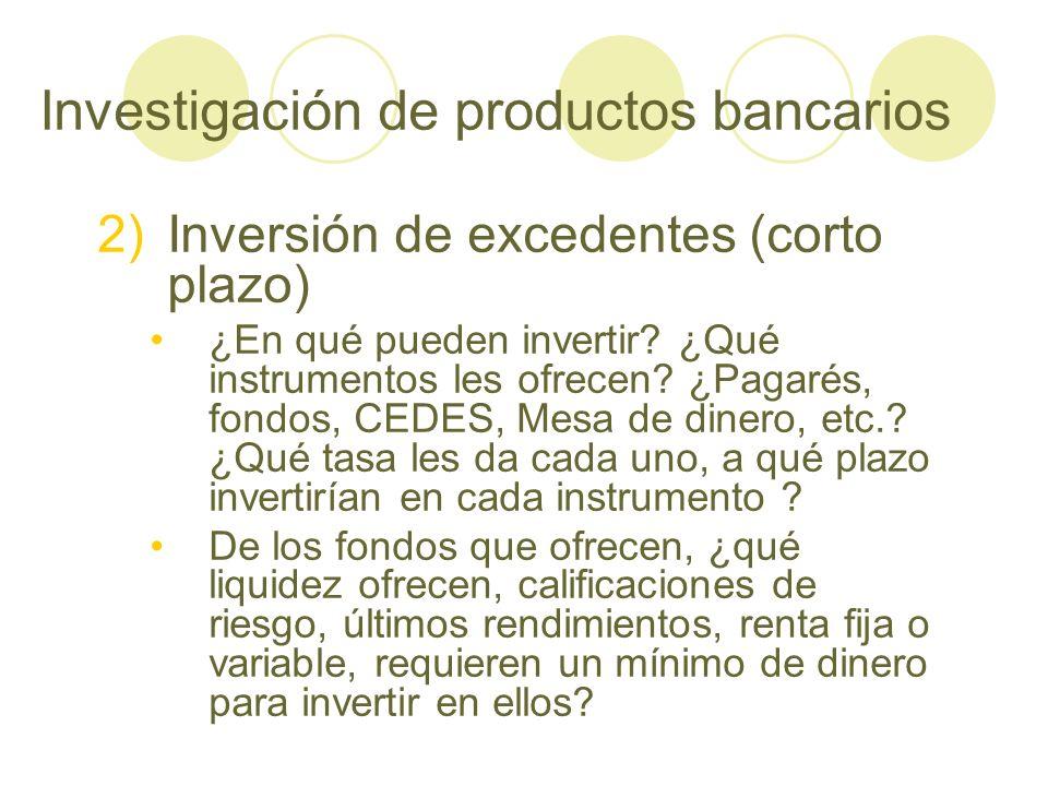 Investigación de productos bancarios