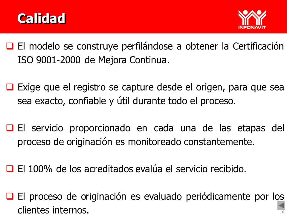 Calidad El modelo se construye perfilándose a obtener la Certificación ISO 9001-2000 de Mejora Continua..
