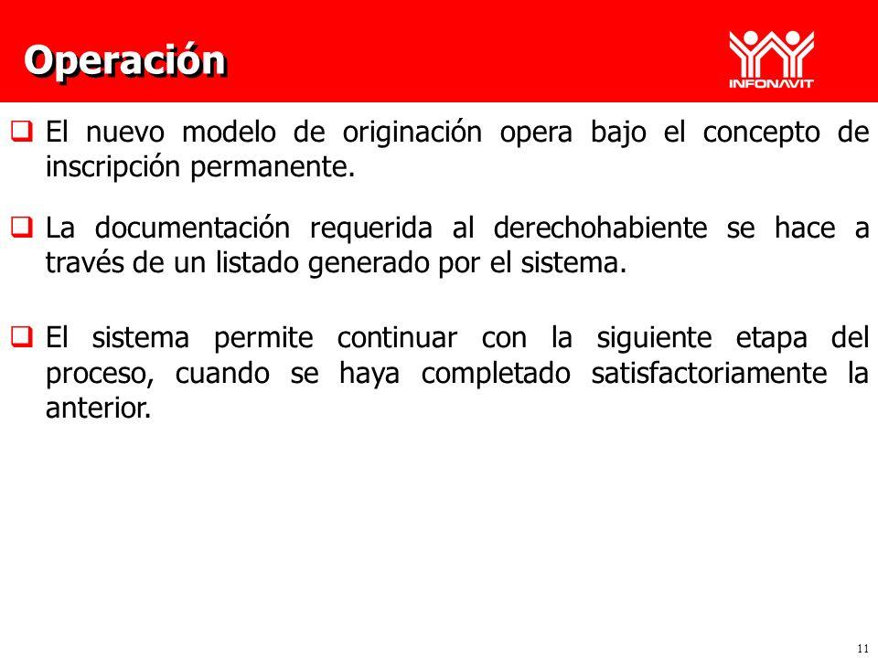 Operación El nuevo modelo de originación opera bajo el concepto de inscripción permanente.