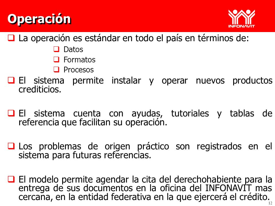 Operación La operación es estándar en todo el país en términos de: