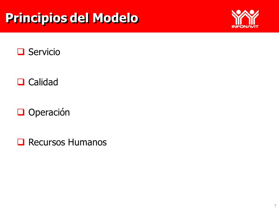 Principios del Modelo Servicio Calidad Operación Recursos Humanos