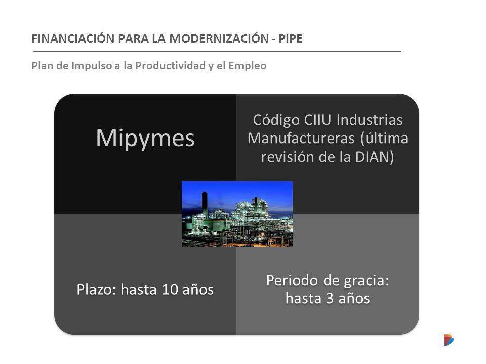 Mipymes FINANCIACIÓN PARA LA MODERNIZACIÓN - PIPE