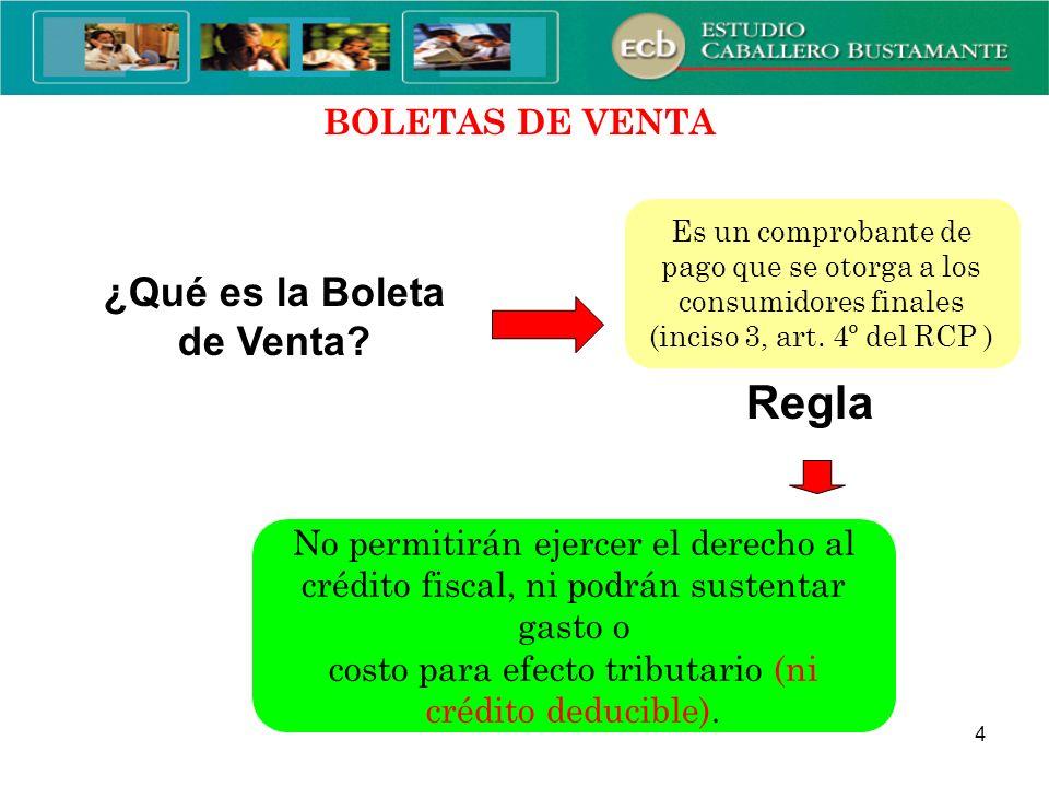 MODIFICACIONES REFERIDAS A LAS BOLETAS DE VENTA