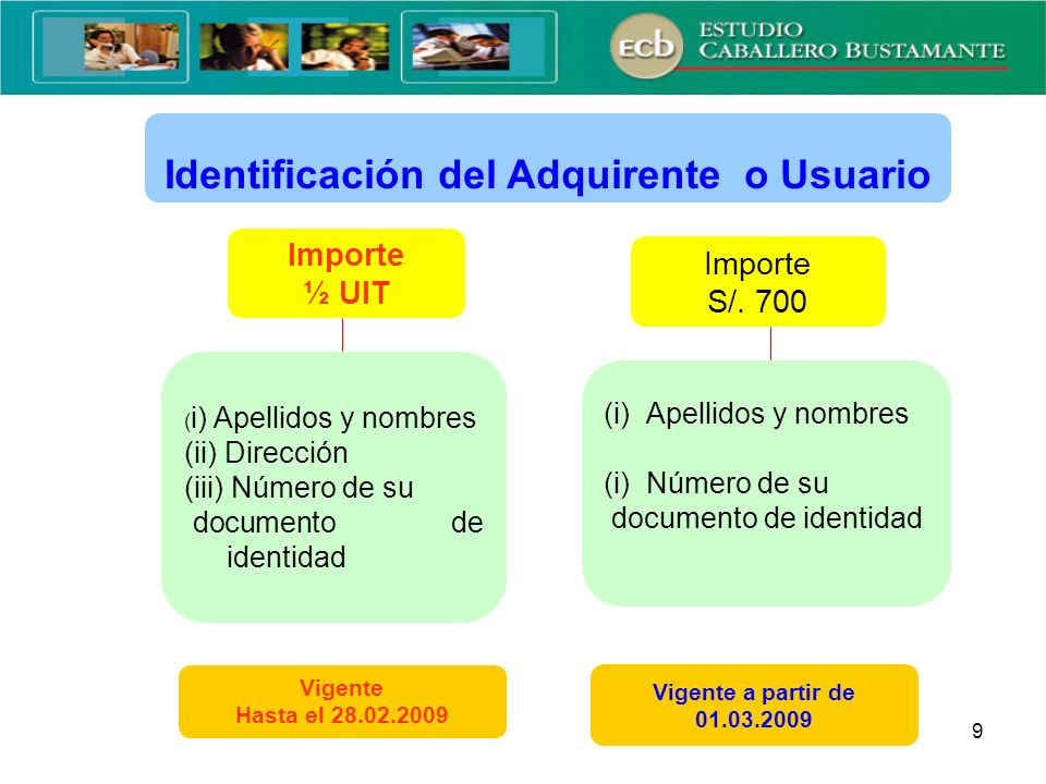 Identificación del Adquirente o Usuario