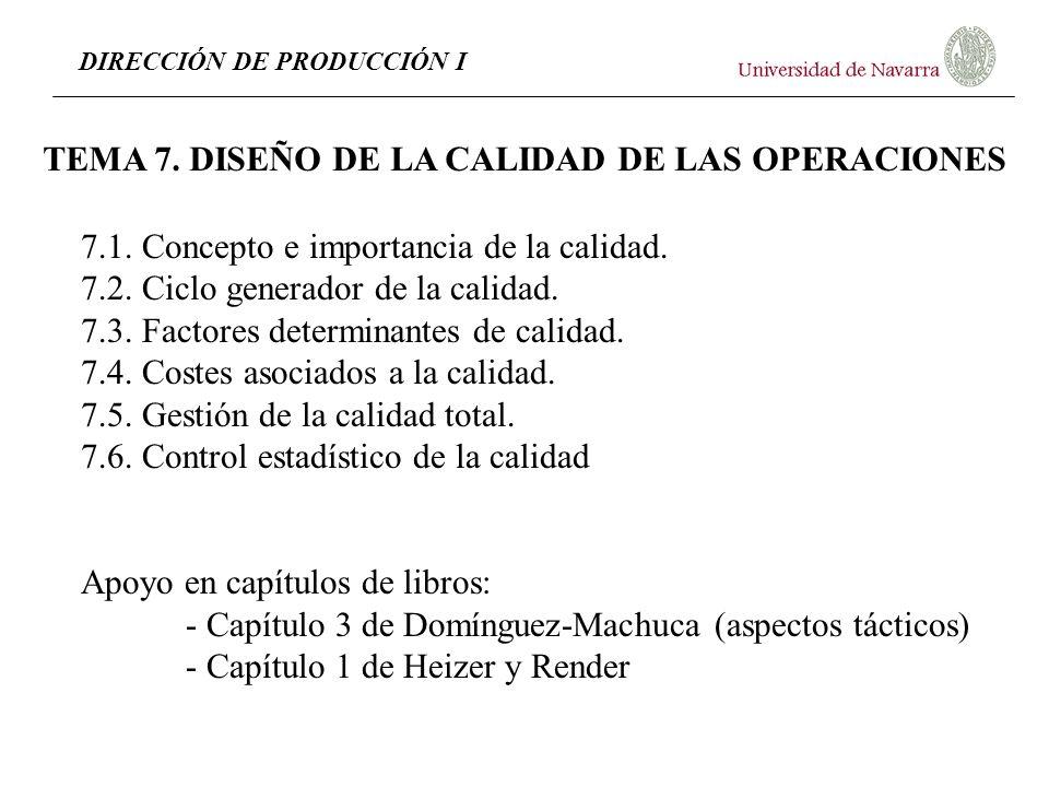 TEMA 7. DISEÑO DE LA CALIDAD DE LAS OPERACIONES