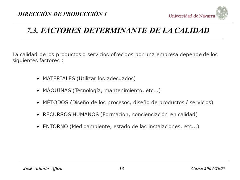 7.3. FACTORES DETERMINANTE DE LA CALIDAD