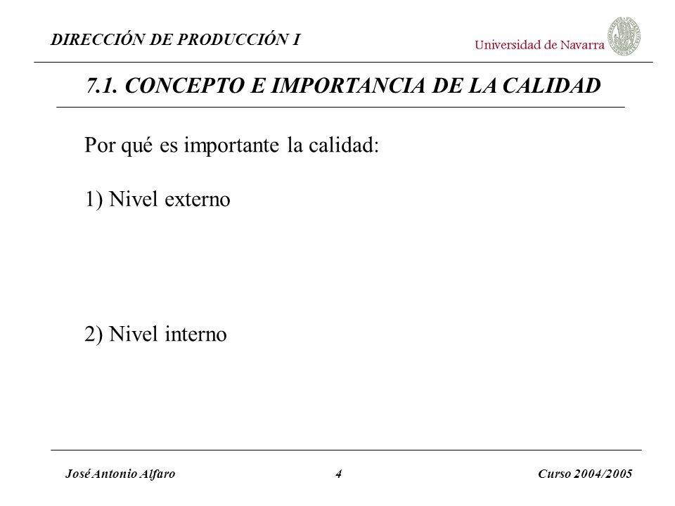 7.1. CONCEPTO E IMPORTANCIA DE LA CALIDAD