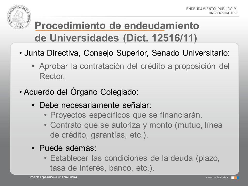 Procedimiento de endeudamiento de Universidades (Dict. 12516/11)