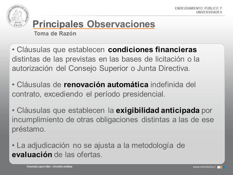 Principales Observaciones