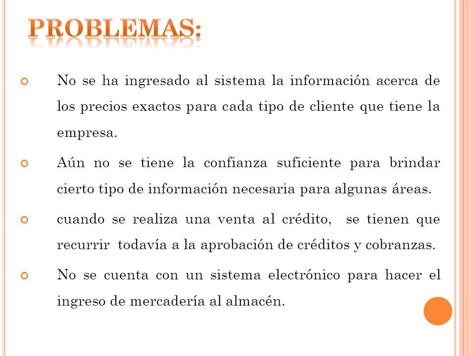 PROBLEMAS:No se ha ingresado al sistema la información acerca de los precios exactos para cada tipo de cliente que tiene la empresa.