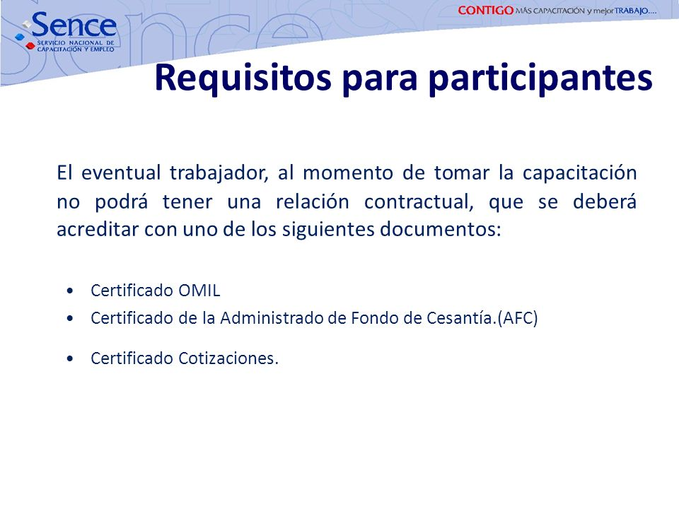 Requisitos para participantes
