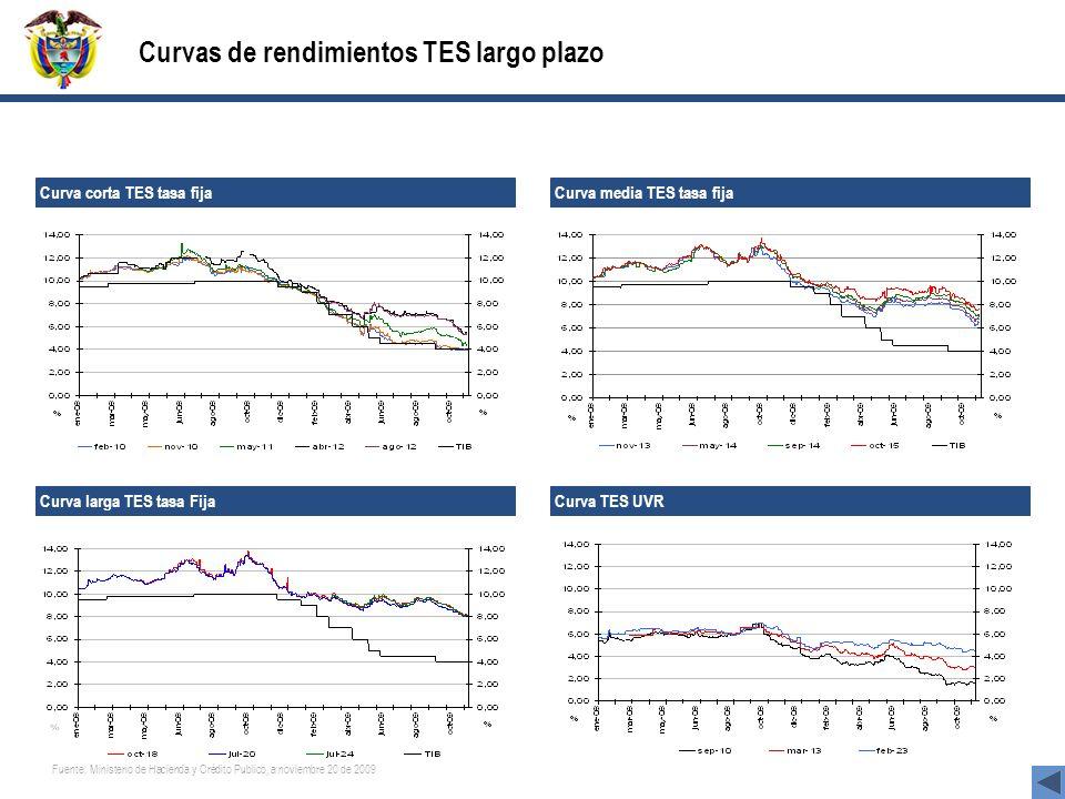 Curvas de rendimientos TES largo plazo