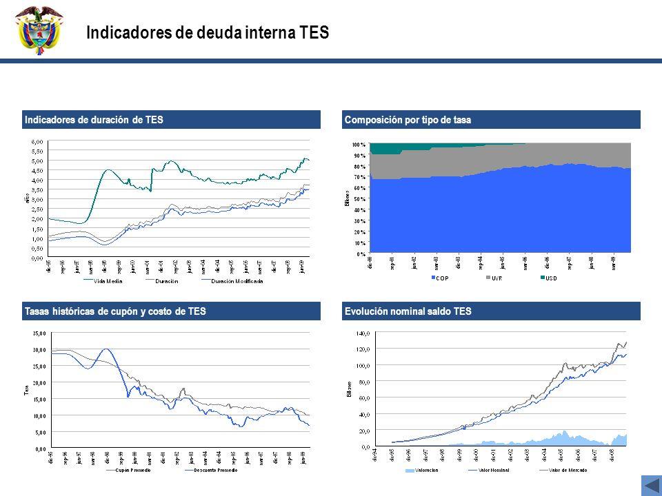 Indicadores de deuda interna TES