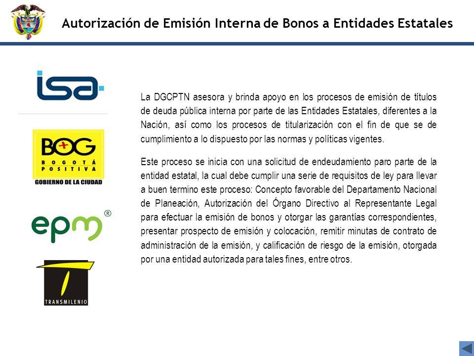 Autorización de Emisión Interna de Bonos a Entidades Estatales