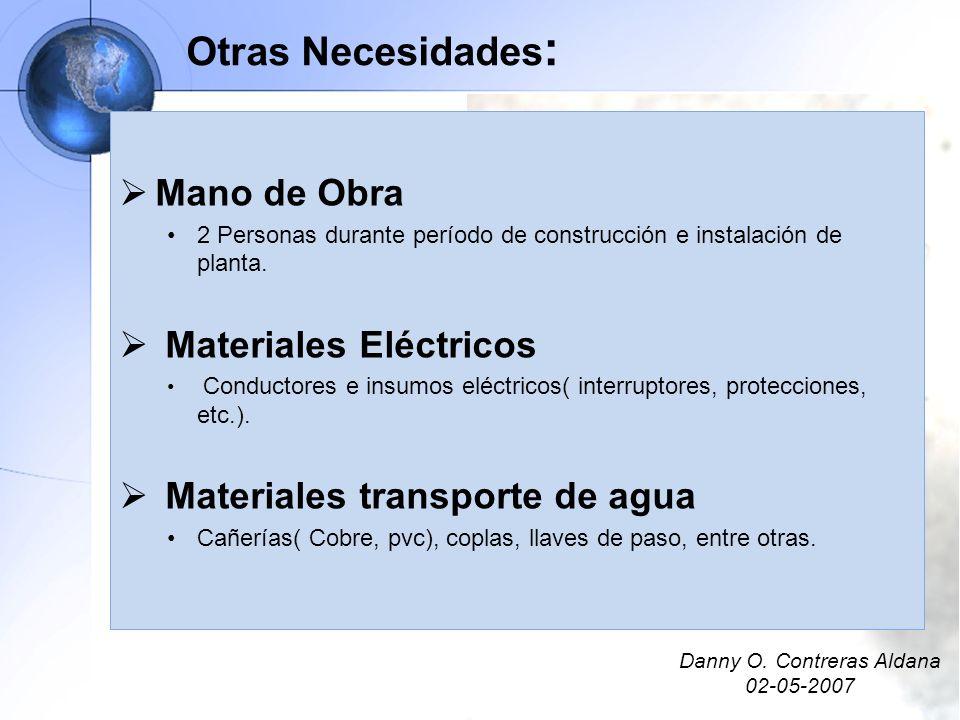 Otras Necesidades: Mano de Obra Materiales Eléctricos