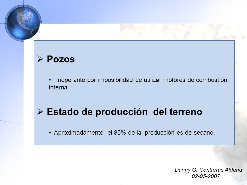 Estado de producción del terreno