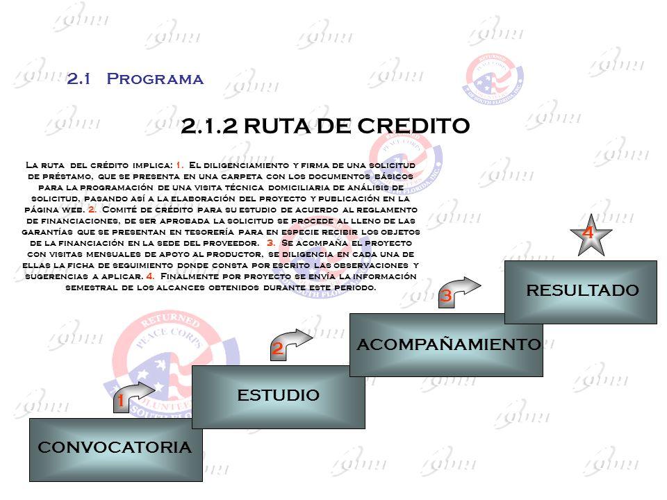 2.1.2 RUTA DE CREDITO 4 3 2 1 2.1 Programa RESULTADO ACOMPAÑAMIENTO