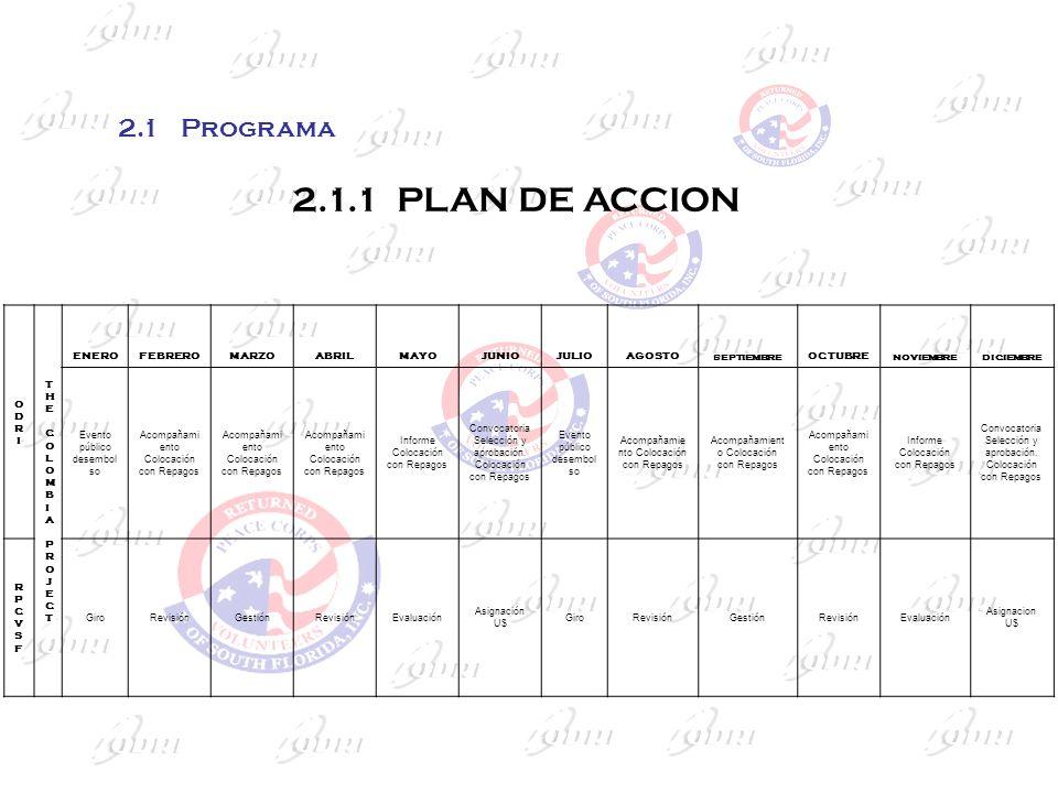 2.1 Programa 2.1.1 PLAN DE ACCION ODRI THE COLOMBIA PROJECT ENERO