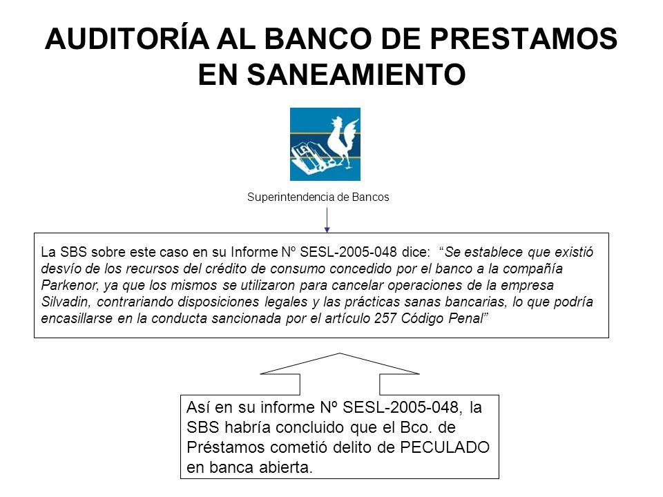 AUDITORÍA AL BANCO DE PRESTAMOS EN SANEAMIENTO