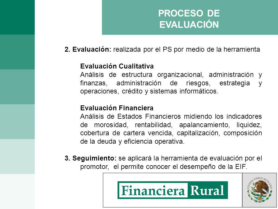 PROCESO DE EVALUACIÓN 2. Evaluación: realizada por el PS por medio de la herramienta. Evaluación Cualitativa.