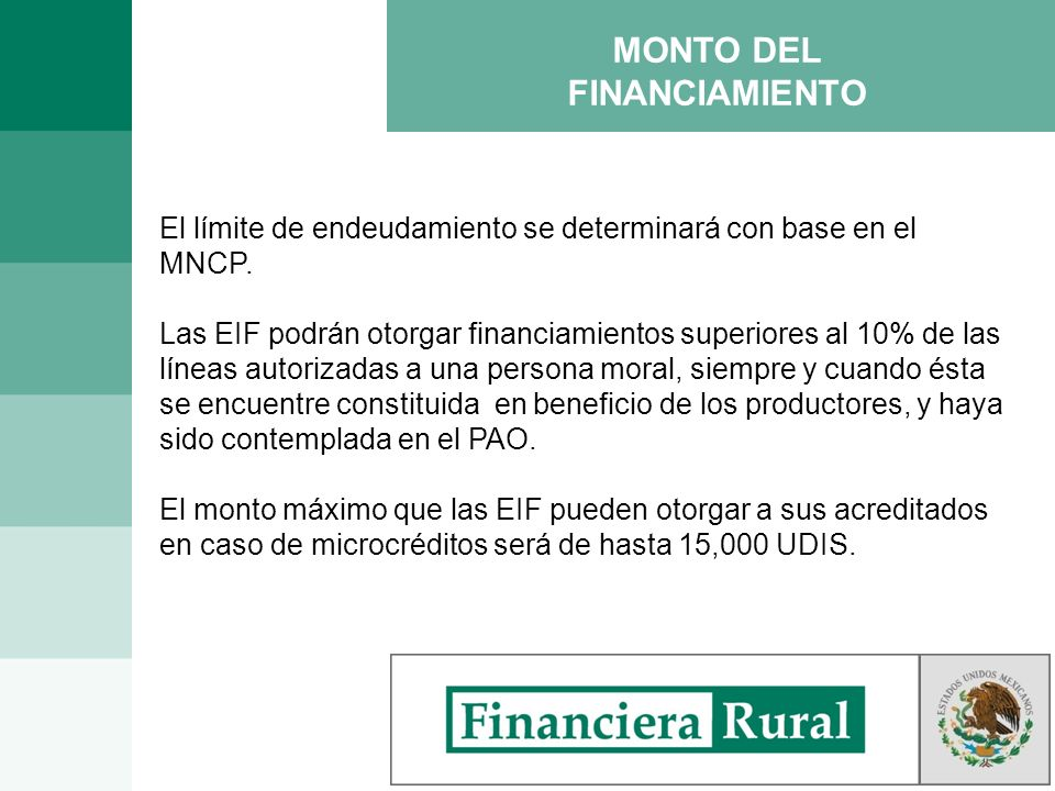 MONTO DEL FINANCIAMIENTO