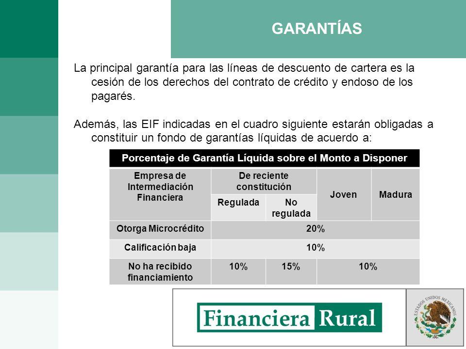 GARANTÍAS La principal garantía para las líneas de descuento de cartera es la cesión de los derechos del contrato de crédito y endoso de los pagarés.