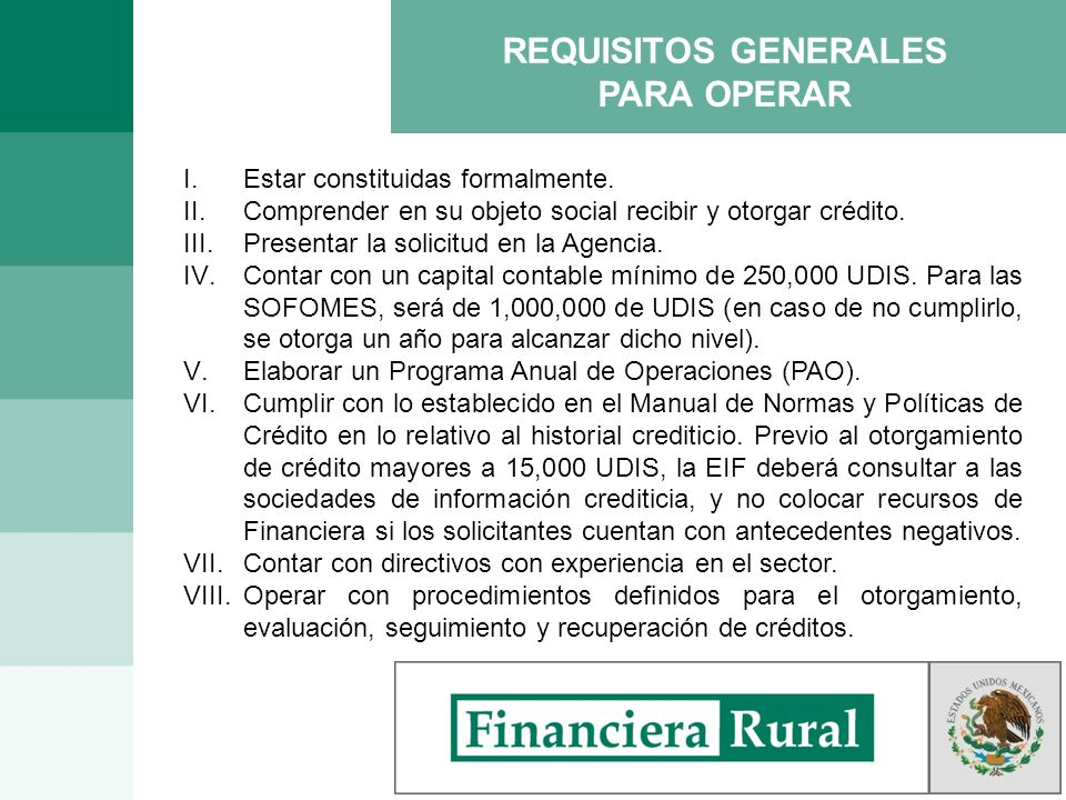 REQUISITOS GENERALES PARA OPERAR