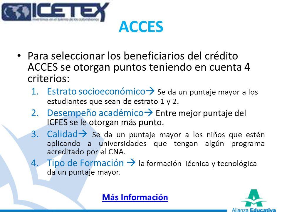 ACCES Para seleccionar los beneficiarios del crédito ACCES se otorgan puntos teniendo en cuenta 4 criterios: