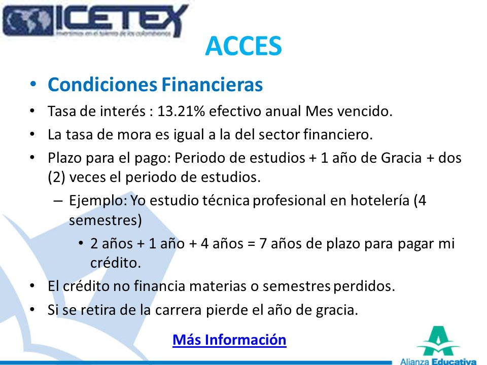ACCES Condiciones Financieras