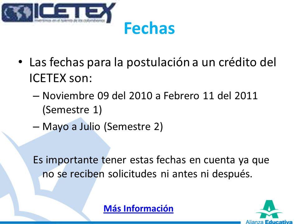 Fechas Las fechas para la postulación a un crédito del ICETEX son: