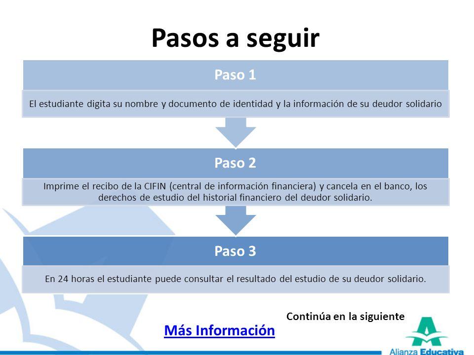 Pasos a seguir Paso 1 Paso 2 Paso 3 Más Información