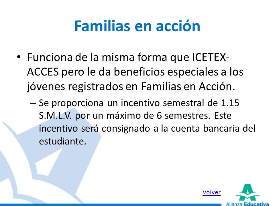 Familias en acciónFunciona de la misma forma que ICETEX-ACCES pero le da beneficios especiales a los jóvenes registrados en Familias en Acción.