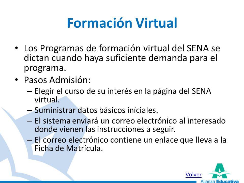 Formación Virtual Los Programas de formación virtual del SENA se dictan cuando haya suficiente demanda para el programa.