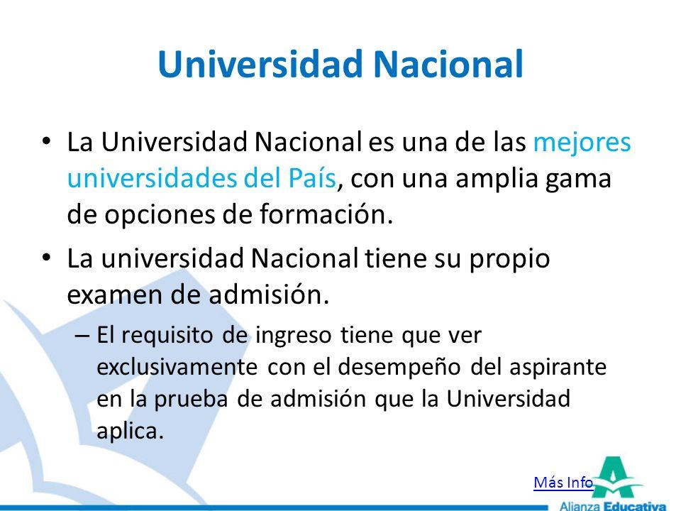 Universidad NacionalLa Universidad Nacional es una de las mejores universidades del País, con una amplia gama de opciones de formación.