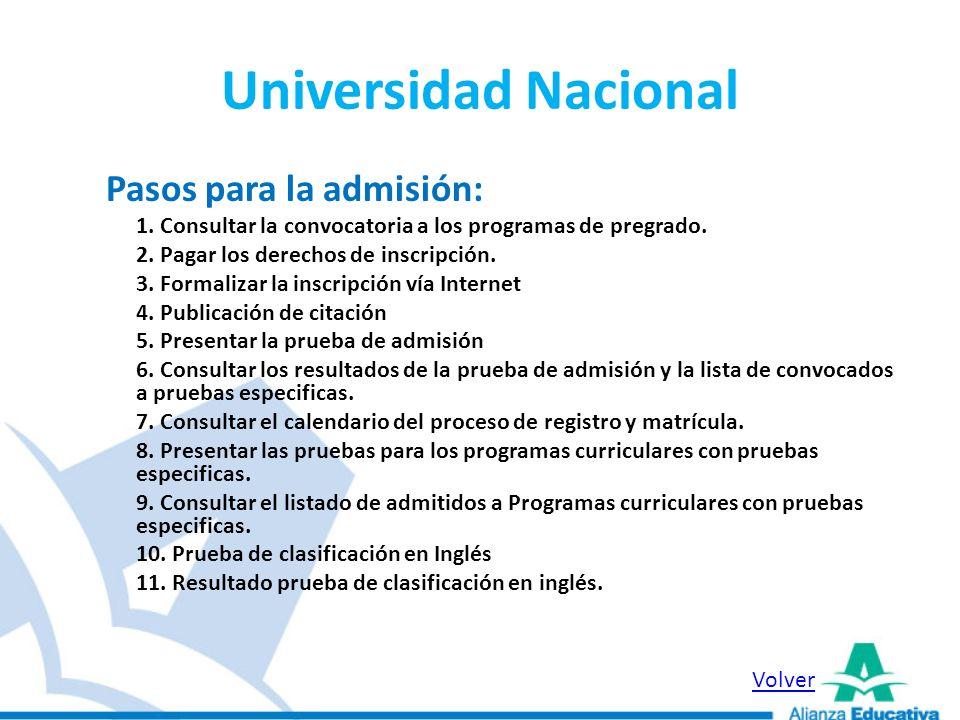 Universidad Nacional Pasos para la admisión: