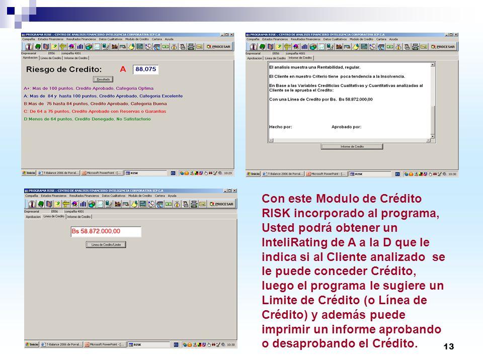 Con este Modulo de Crédito RISK incorporado al programa, Usted podrá obtener un InteliRating de A a la D que le indica si al Cliente analizado se le puede conceder Crédito, luego el programa le sugiere un Limite de Crédito (o Línea de Crédito) y además puede imprimir un informe aprobando o desaprobando el Crédito.